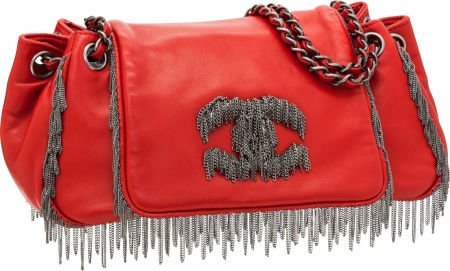 56261: Chanel Red Lambskin Leather Accordion Flap Bag w