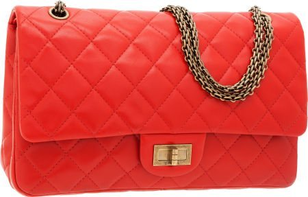 56263: Chanel Tomato Red Quilted Lambskin Leather Jumbo