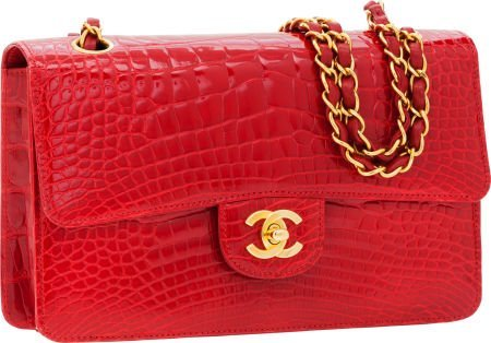56264: Chanel Shiny Red Crocodile Classic Rigid Medium