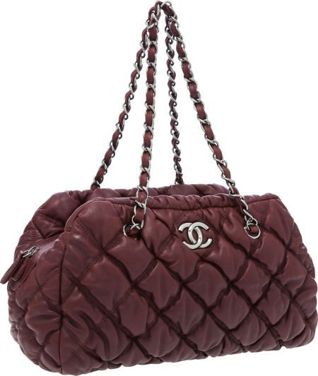 56266: Chanel Burgundy Quilted Leather Bubble Bowling B