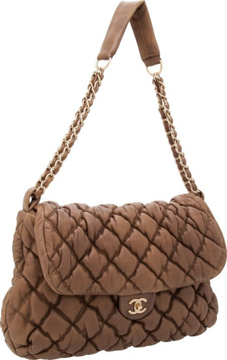 56267: Chanel Light Brown Leather Bubble Shoulder Bag w