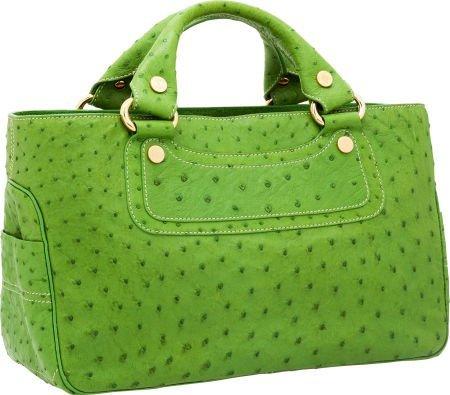 56444: Celine Green Ostrich Boogie Bag  - 2