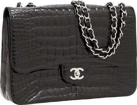 56313: Chanel Shiny Black Crocodile Jumbo Single Flap B