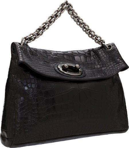 56314: Chanel Matte Black Alligator Large Modern Chain