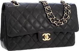 56316: Chanel Black Quilted Caviar Leather Medium Doubl