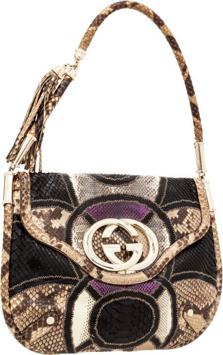 56429: Gucci Black, Purple & Natural Python and Snakesk