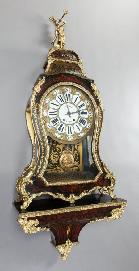62005: A FRENCH LENOIR BOULLE CLOCK ON BRACKET SHELF  R