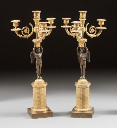 62008: A PAIR OF CHARLES X GILT AND PATINATED BRONZE FI