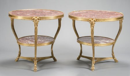 62015: A PAIR OF LOUIS XV-STYLE GILT BRONZE MARBLE INSE