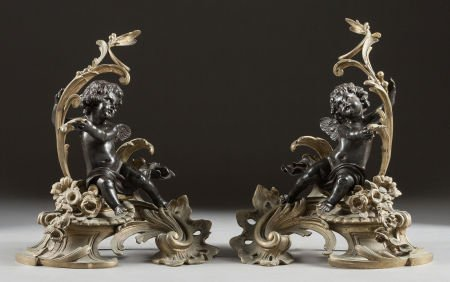 62024: A PAIR OF LOUIS XV-STYLE GILT AND PATINATED BRON