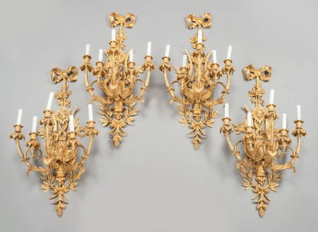 62026: FOUR LOUIS XV-STYLE GILT BRONZE FIVE-LIGHT SCONC