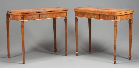 62567: A PAIR OF EDWARDIAN MAHOGANY AND SATINWOOD PAINT