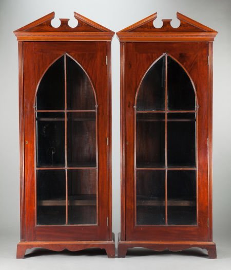 62569: A PAIR OF ENGLISH MAHOGANY PEDIMENTED BOOKCASES