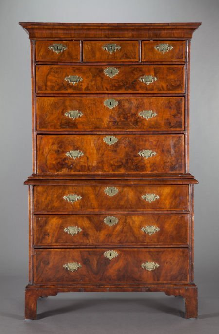 62570: A GEORGE III-STYLE BURL MAHOGANY HIGH CHEST OF D