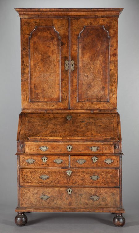 62571: A GEORGE III BURL WALNUT SECRETARY DESK AND BOOK