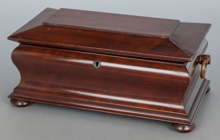 62572: AN ENGLISH REGENCY MAHOGANY SARCOPHAGUS-FORM TEA
