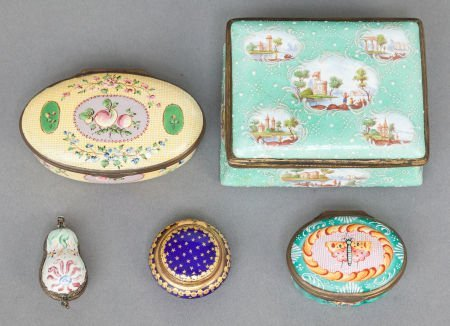 62573: FIVE ENGLISH ENAMELED METAL LIDDED BOXES 19th ce