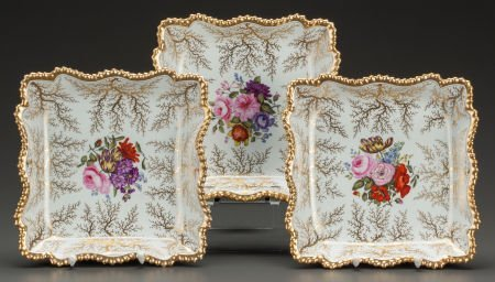 62574: THREE FLIGHT, BARR & BARR WORCESTER FLORAL TRAYS