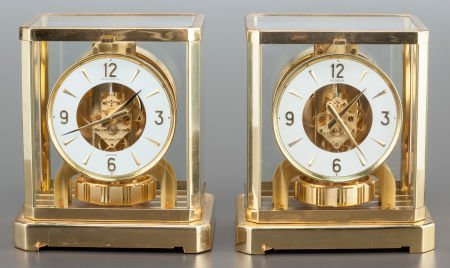 62848: A PAIR OF LE COULTRE BRASS ATMOS CLOCKS 20th cen