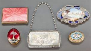 63125 FOUR LIDDED ENAMELED BOXES AND A GORHAM SILVER C