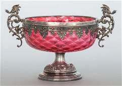 A VICTORIAN CRANBERRY GLASS AND SILVERED METAL M