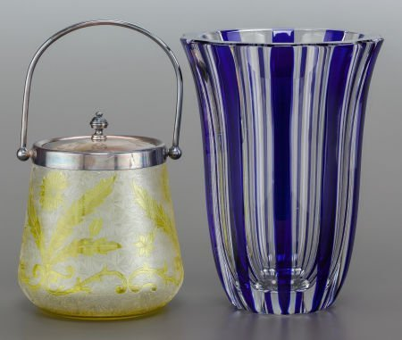 62863: A ST. LOUIS GLASS VASE AND METAL MOUNTED BISCUIT