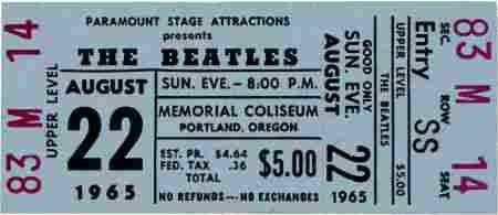 46301: Beatles Unused Portland Memorial Coliseum Concer