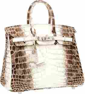 56142: Hermes Extremely Rare 25cm Matte White Himalayan