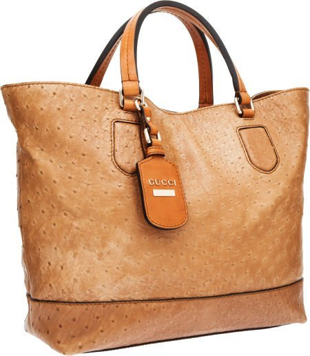 56371: Gucci Light Brown Ostrich Tote Bag with Light Go