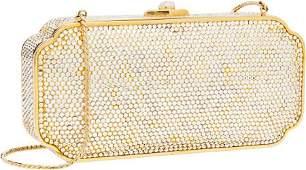 56405 Judith Leiber Full Bead White  Gold Crystal Min