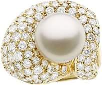 58196: South Sea Cultured Pearl, Diamond, Gold Ring, Jo