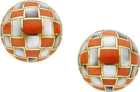 58051: Coral, Mother-Of-Pearl, Gold Earrings, Angela Cu
