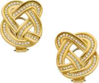58052: Diamond, Gold Earrings, Angela Cummings for Tiff