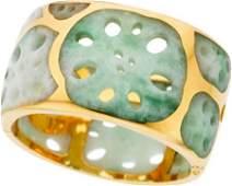 58055: Jadeite Jade, Gold Bracelet, Angela Cummings for