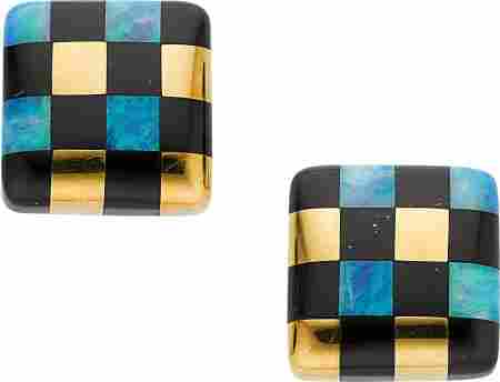 58057: Opal, Black Onyx, Gold Earrings, Angela Cummings