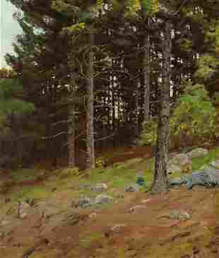 70115: BEN FOSTER (American, 1852-1926) In the Pines Oi