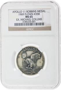 40116: Apollo 11 Flown MS65 NGC Silver Robbins Medallio