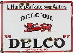 97253: Vintage French Delco Oil Porcelain Sign