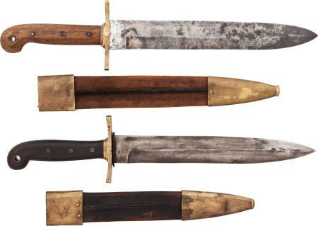 49535: Lot of Two Ames 1849 Rifleman's Knives and Scabb