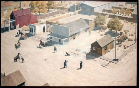 44098: Wonderful Painting of the O.K. Corral Gunfight,