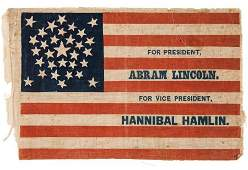 38024: Abraham Lincoln: Lincoln & Hamlin Campaign Flag.