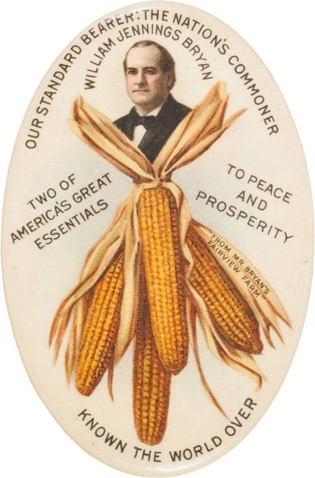 "38090: William Jennings Bryan: Large 2 3/8"" Size of thi"