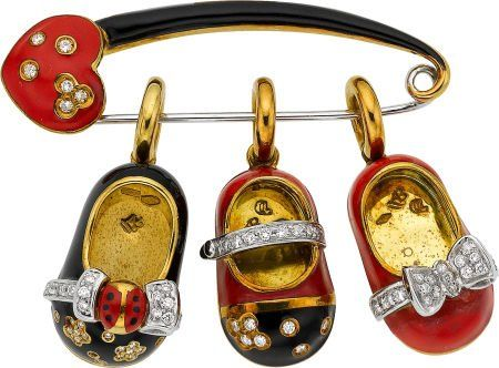 54031: Aaron Basha Diamond, Enamel, Gold Brooch