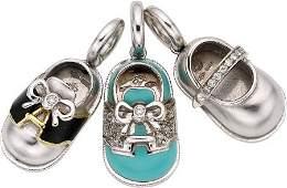 54032: Aaron Basha Diamond, Enamel, White Gold Charms