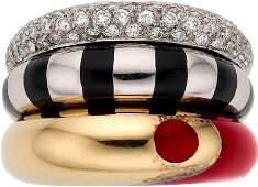 54310 La Nouvelle Bague Diamond Enamel Gold Ring