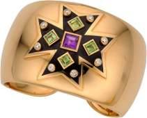 54571 Verdura Diamond Amethyst Peridot Enamel Gold
