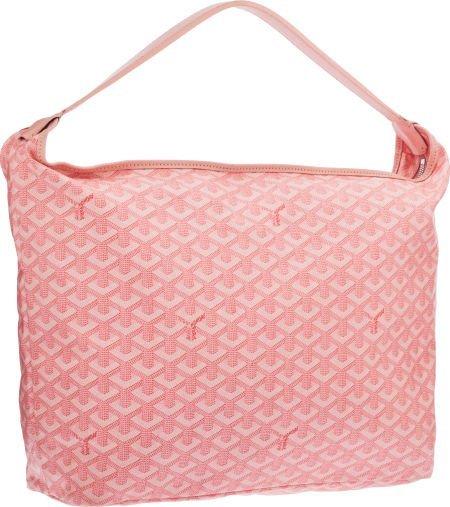 58407: Goyard Pink Goyardine Canvas Fidji Hobo Bag Exce