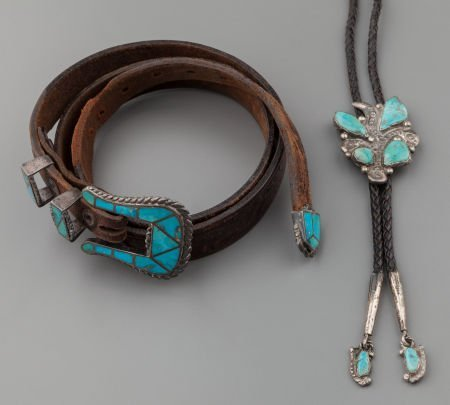 71009: TWO ZUNI SILVER AND TURQUOISE JEWELRY ITEMS c. 1