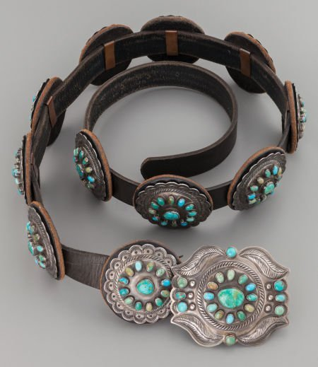71010: A NAVAJO SILVER AND TURQUOISE CONCHO BELT c. 197