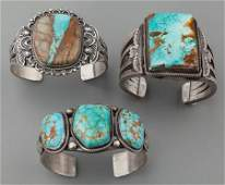 71020 THREE NAVAJO SILVER AND TURQUOISE BRACELETS c 1